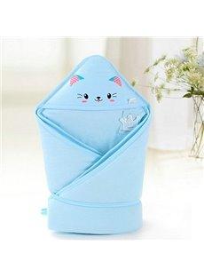 Bouncy Blue Cute Cat Print Baby Blanket