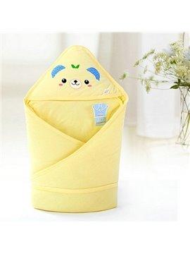 Adorable Light Yellow Bear Print Baby Blanket