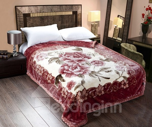 Graceful Peonies Printing Burgundy Cozy Raschel Blanket