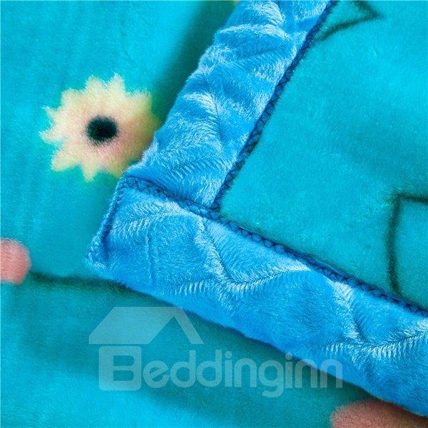 Pastoral Small Flowers Printing Blue Raschel Blanket