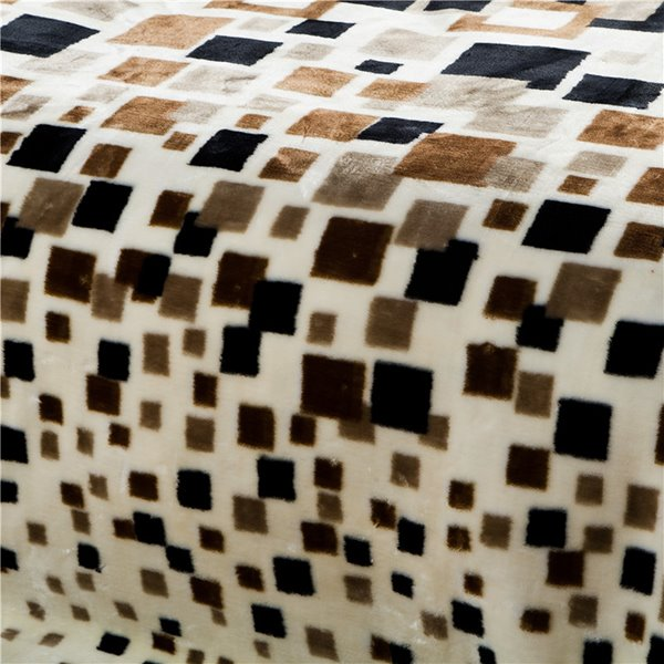 Concise Checks Design High Quality Raschel Blanket