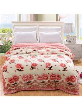 Sweet Pink Small Flowers Printing Raschel Blanket
