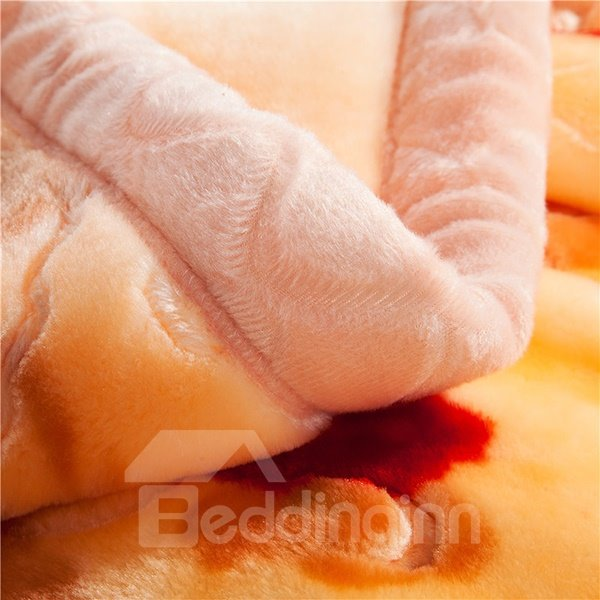 Pretty Small Flowers Design Apricot Raschel Blanket