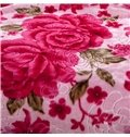 High Grade Red Flowers Design Cozy Raschel Blanket