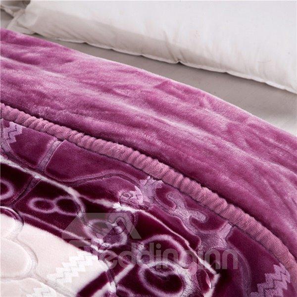 Luxury Purple Flowers Design Warm Soft Raschel Blanket