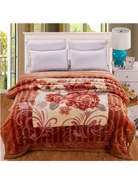 Elegant Brown Floral Design Thick Warm Raschel Blanket
