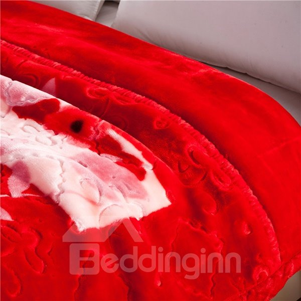 Fiery Red Floral Design Soft Raschel Blanket