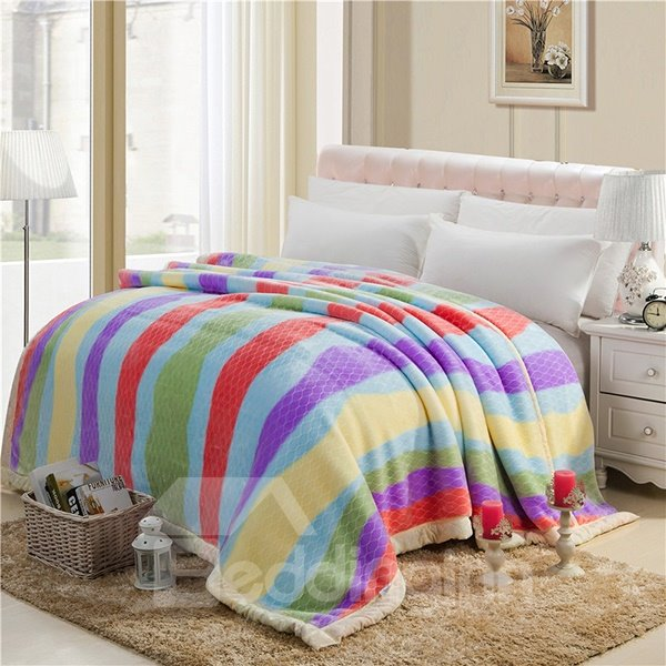 Colorful Stripes Printing Top Class Raschel Blanket