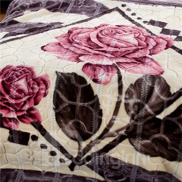 Two Beautiful Roses Printing Thick Raschel Blanket