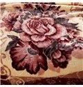 Brown Floral Design Well-made Warm Raschel Blanket