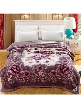 Light Purple Blooming Peonies Printing Raschel Blanket