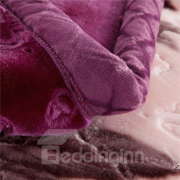 Rosy Peonies Print Super Warm Raschel Blanket