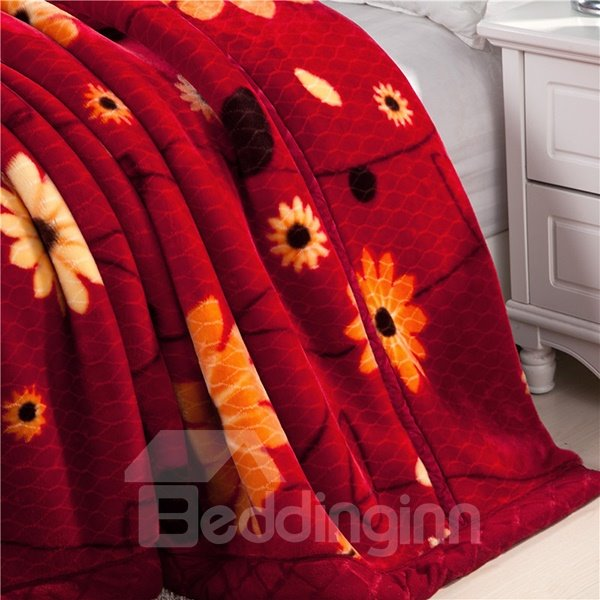 Small Flowers Printing Fiery Red Raschel Blanket