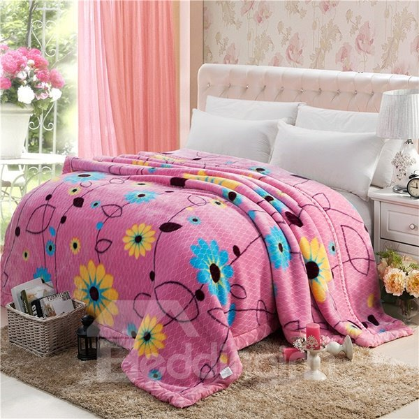 Refreshing Pastoral Style Flowers Design Raschel Blanket