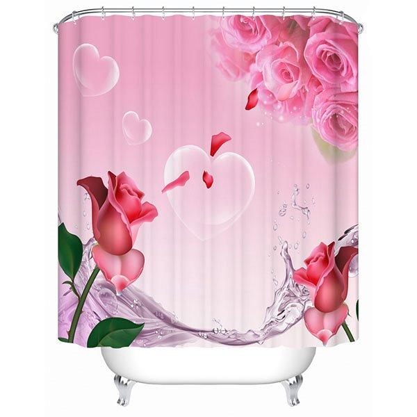 Modern New Design Beautiful Roses 3D Shower Curtain