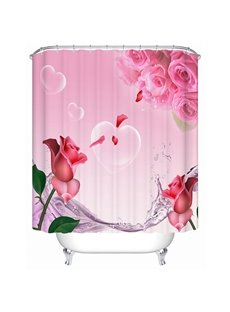 Modern New Design Beautiful Roses 3D Shower Curtain