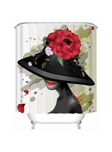 Artistic Design Elegant Girl and Flower 3D Shower Curtain