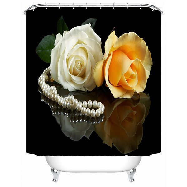 Noble Graceful White and Yellow Roses and Pearl Necklace 3D Shower Curtain