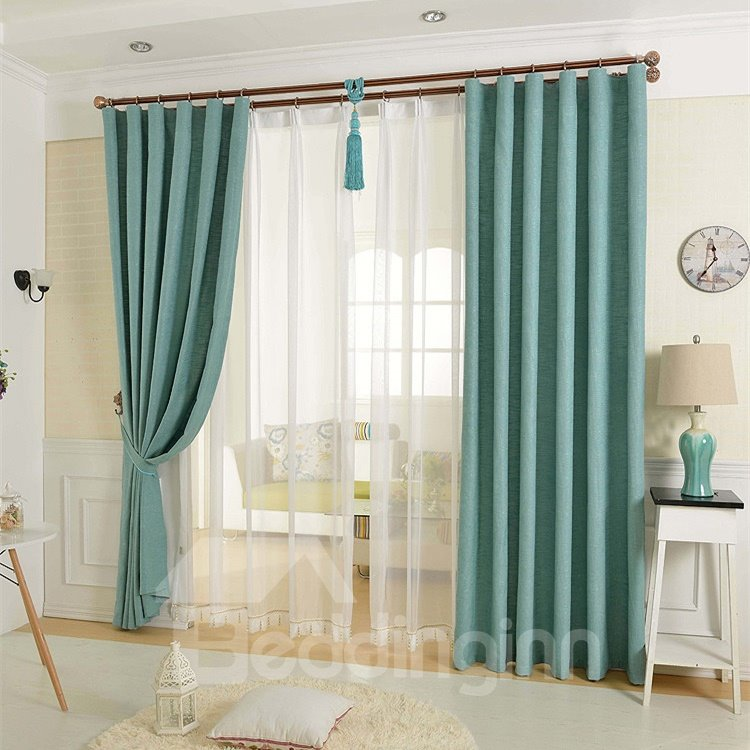 Stylish Blue Solid Double Pinch Pleat Curtain