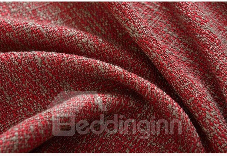 Elegant Concise Solid Red Double Pinch Pleat Curtain