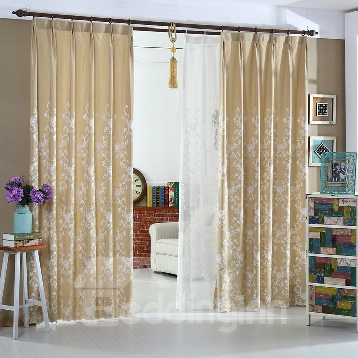 Wonderful Beige High Quality Double Pinch Pleat Curtain
