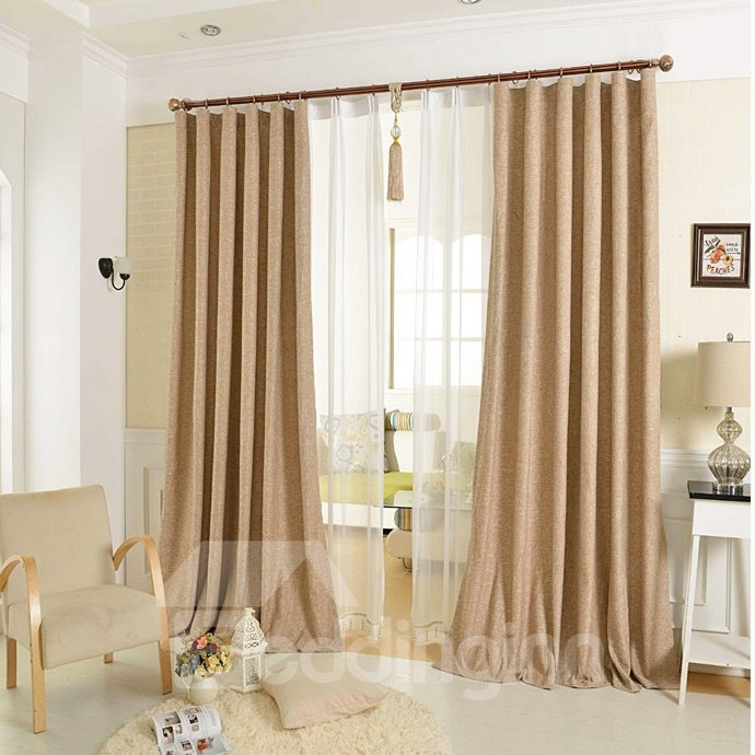 Elegant Concise Solid Double Pinch Pleat Curtain
