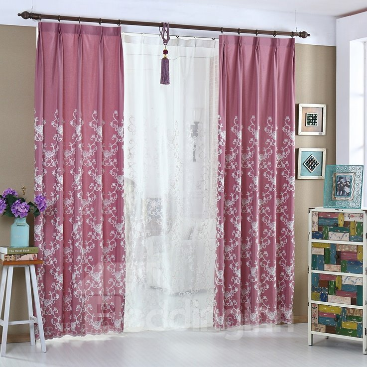 Elegant Beautiful Red Color Double Pinch Pleat Curtain