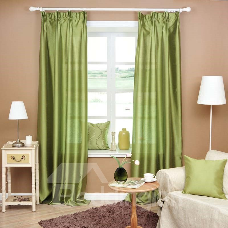 Elegant Green Color Double Pinch Pleat Curtain
