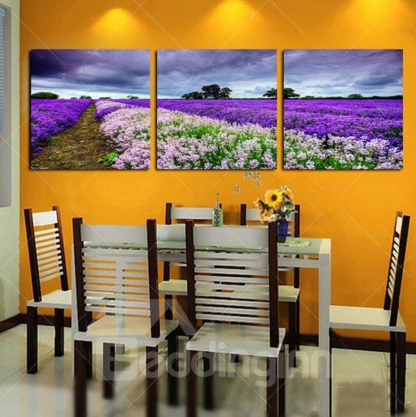 Wonderful Lanvender Field Frameless 3-Panel Wall Art Print