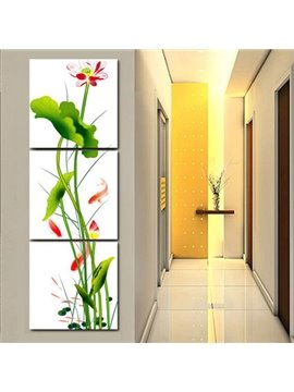 Classic Lotus Flower and Leaf Entrance Hall Decoration Frameless 3-Panel Wall Art Print