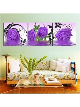Gorgeous Purple Roses Frameless 3-Panel Wall Art Prints