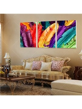 Unique Colorful Feathers Frameless 3-Panel Wall Art Print