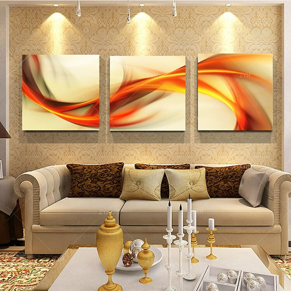 Modern Art Abstract Curve Lines Frameless 3-Panel Wall Art Print