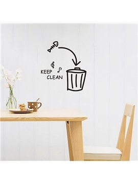Letters and Dustbin Keep Clean Removable Wall Sticker