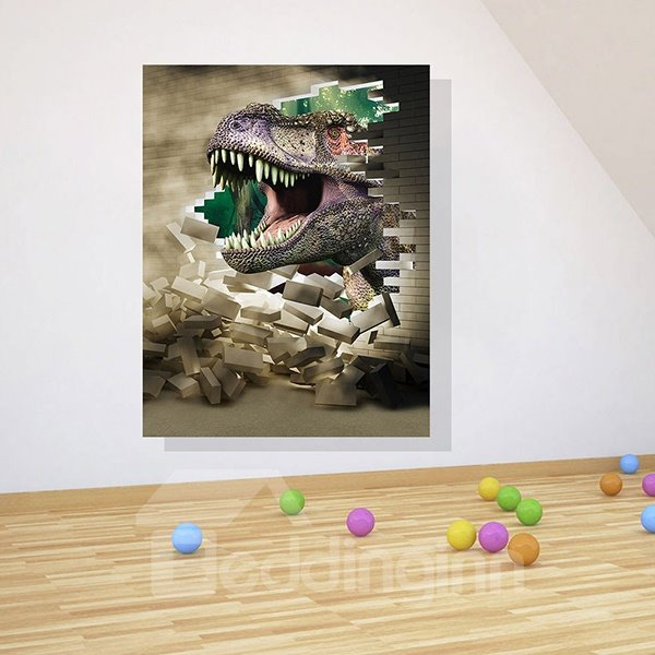 Amazing 3D Dinosaur Breaking Through Brick Wall Removable 3D Wall Stickers
