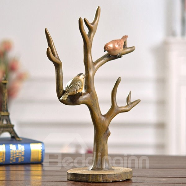 American Country Style Resin Tree Branch and Birds Desktop Decoration