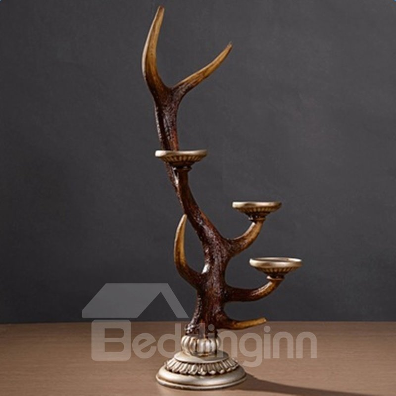 Vinatge European Style Deer Antler Resin 2-Head Candle Holder