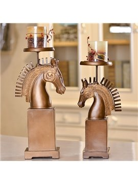 Wonderful Horse Design 2-Piece Resin Candle Holder