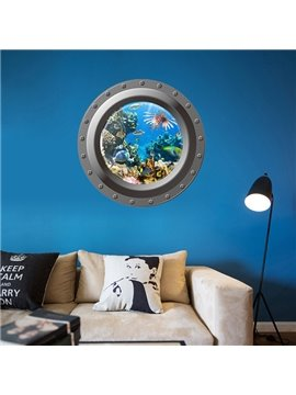Wonderful 3D Porthole View Undersea World Removable 3D Wall Sticker