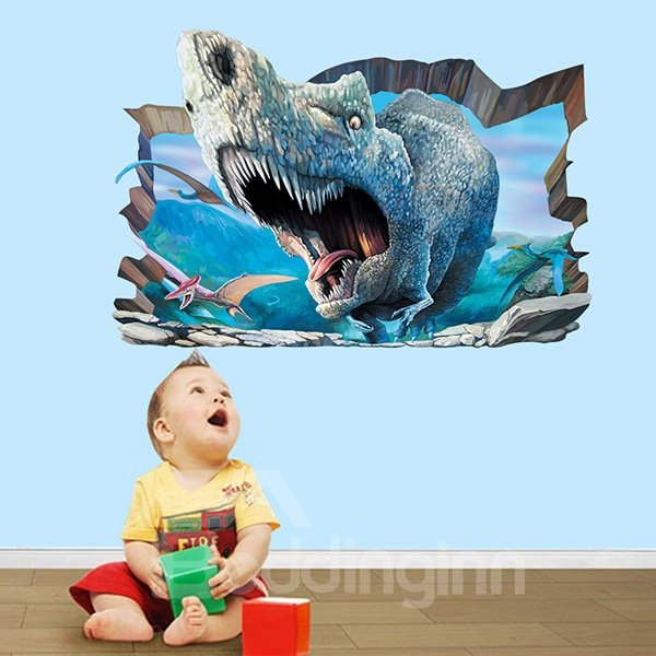 Amazing Fierce Rhino Breaking Through Wall 3D Wall Sticker