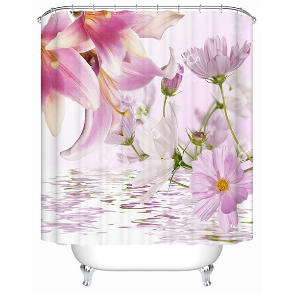 Graceful Charming Lily Printing 3D Shower Curtain