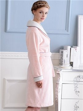 New Design Graceful Concise Solid Color Pink Women's Robe