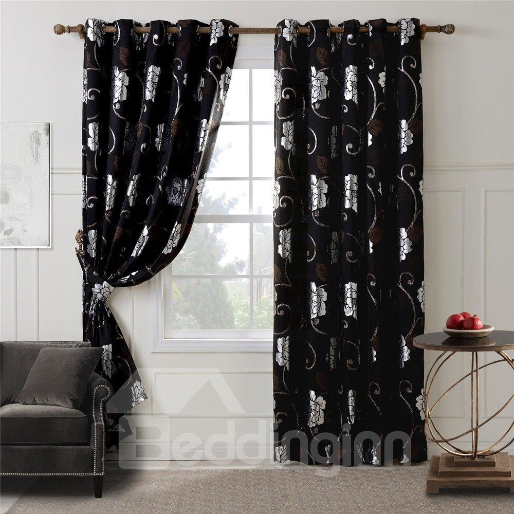 Top Class Floral Pattern Grommet Top Curtain