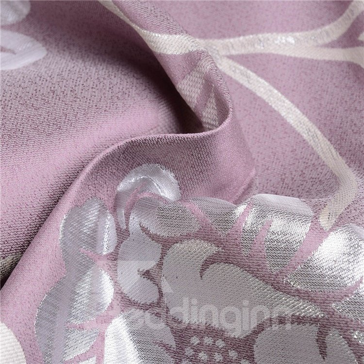 Romantic Purple Floral Pattern Quality Grommet Top Curtain