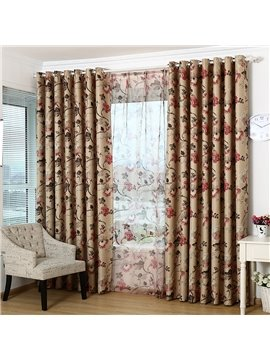 Hot Selling Elegant Floral Grommet Top Curtain