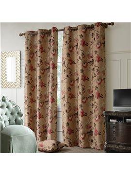 Top Quality Elegant Floral Grommet Top Curtain