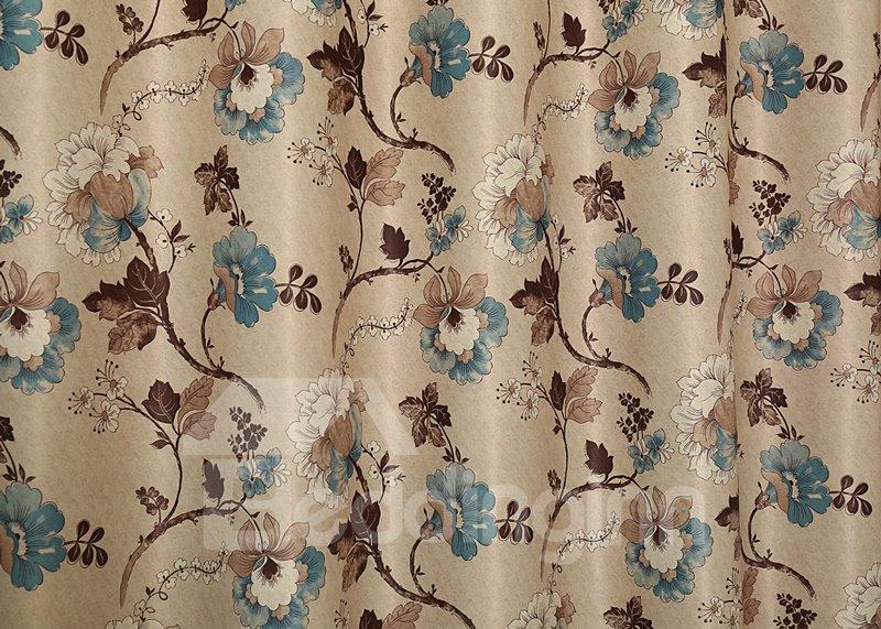 Modern Elegant Floral Pattern Grommet Top Curtain