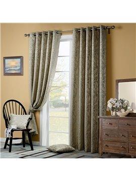 Elegant Floral Pattern Grommet Top Curtain