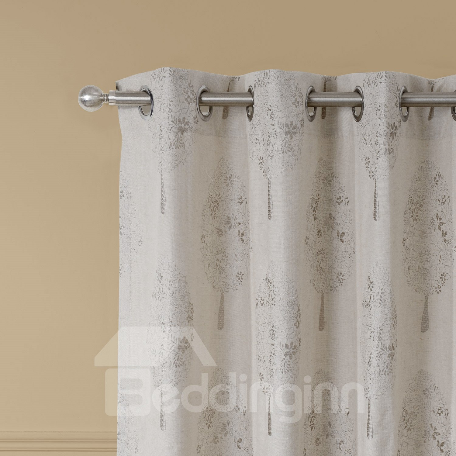 Modern Concise Silvery Tree Jacquard Grommet Top Curtain