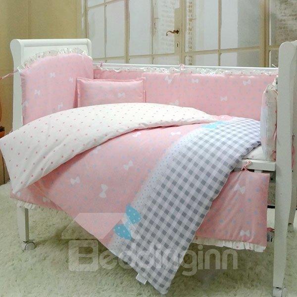 Elegant Bowknot and Plaid Pattern 10-Piece Crib Bedding Sets